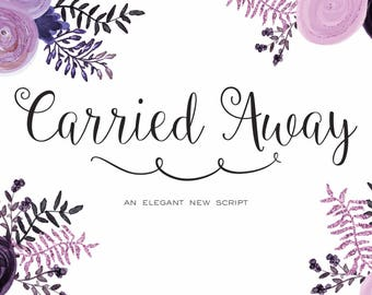 Carried Away and Monogram Bonus Cursive Script Font Download Personal or Commercial (original Ballerina Script)