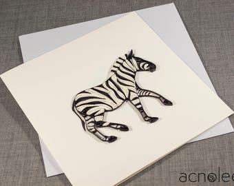 Quilled Zebra Animal Card