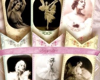 Ballerina..Lesezeichen, Tags, shaby chic, Bookmarks Digital Collage Sheet, Vintage Bilder, Geschenk, Markierungen, Handwerk, Supply