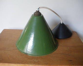 industrial chandelier / glazed ceilling/loft/old Industrial ceiling/pendant / vintage enamel pendant / 1940/1950 's/40's / 50's