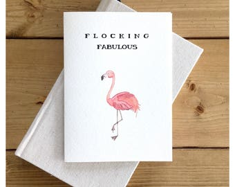 Flamingo Card // flocking fabulous, greeting card, pun card, punny, pink card, fabulous, funny card, flamingo, birthday card, funny birthday