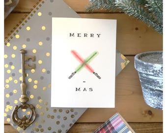 Lightsaber Christmas card // star wars christmas card, star wars card, fandom, lightsaber, holiday card, star wars gift, nerdy, fandom, pun