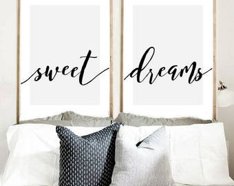 Sweet Dreams Print Set Of 2 Prints Calligraphy Bedroom Wall Art