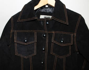 Black Suede Jacket Cropped Punk Motorcycle 80s does 60s Mod Deadstock Moto Grunge