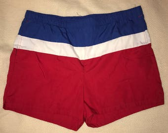 Vintage Red White and Blue Swim Trunks / size 36 / by Jantzen