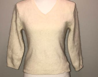 Vintage 90's Beige Angora Sweater / size medium / by Reference Point