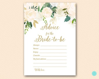 Bluff Bridal Shower Games, Advice for the Bride to be Card, Advice for the Bride, Bridal Shower Activities, Bridal Shower Printable BS530P