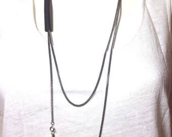 KABLE 2 black leather necklace