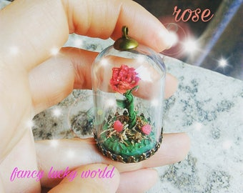 Enchanted rose necklace beauty and the Beast handmade glassa and heart