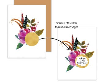 Gold Boho Floral Will You Be My?... Scratch Off Card, Will you be my Bridesmaid, Will you be my Maid of Honour, Scratch Off Greeting Card
