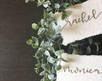 Custom Hand Lettered Modern Calligraphy Place Cards