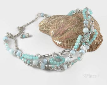 Spectacular aquamarine multi strand intertwined - 123 stone jewelry gemstone necklace