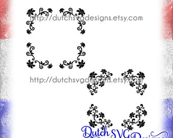 2 Corner border cutting files with flowers, in Jpg Png SVG EPS DXF, Cricut svg, Silhouette cutting file, flowers svg, corner border svg, diy