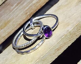 On Sale Natural Purple Amethyst Cut Ring - 925 Sterling Silver Gemstone Ring - Wedding Ring - Handmade Stacking Ring