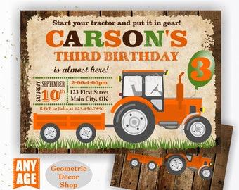 Tractor Birthday Invite, Orange Tractor Invitation Tractor Invitations Woodland Rustic Wood Invite Digital File Boy Girl Photo Photograph 25