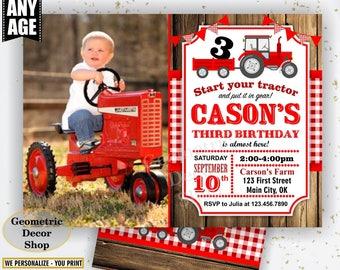 Tractor Birthday Invite, Tractor Invitation, Invitations, Photo, Photograph, Invites, Woodland, Digital File, Red Plaid Boy Girl BDT39