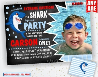 Shark / Birthday invitation / pool / party invite digital printable summer party Bash / Boy / blue Red Photo Photograph chalkboard BDShark3