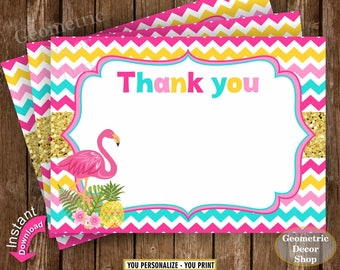 Flamingo Thank You Card Pink Gold Teal Pineapple Baptism Note Luau Birthday Hawaiian Printable Bridal Shower Baby pool INSTANT DOWNLOAD TFL2