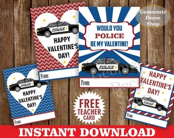 Instant Download / Police / Valentine / Card / Valentines / Car / blue / red / Valentine's Day / Tags / teacher / Kids / Classroom / VCard19