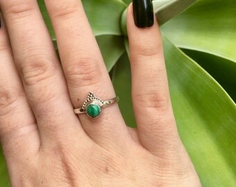 Sterling Silver Malachite Arden Ring