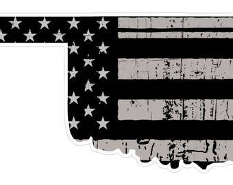 Oklahoma State (N37) Distressed Flag Vinyl Decal Sticker Car/Truck Laptop/Netbook Window