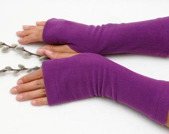 Beauty gift for wife coworker gift mum Fingerless gloves Fleece Arm warmers Jersey Gloves Tattoo cover Fabric women gloves driving gloves