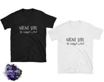 Mom Life The Snuggle is Real Women's Short Sleeve T-Shirt - Cotton Jersey Knit Unisex Tee Shirt -  Shirt For Her - Funny Parenting Shirt