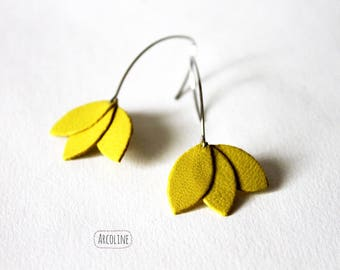 Earrings leather Petals yellow ° °