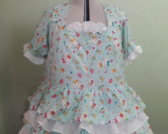 Handmade Lolita Dress - Plus Sized - Made To Order - 5 Tier Ruffle Design - Single Color
