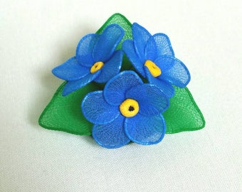 nylon forget me not brooch,forget me not,forget me not brooch,handmade flower brooch,handmade forget me not,handmade brooch,blue flower,