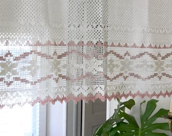 Vintage Lace Curtains O Cotton Crochet Valances Pretty Pink Accent Panels Bohemian Decor