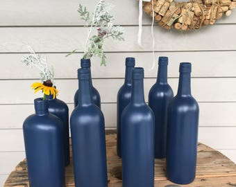 Set of 6 wine bottles and 2 whiskey bottles - Navy Blue - Wedding centerpieces