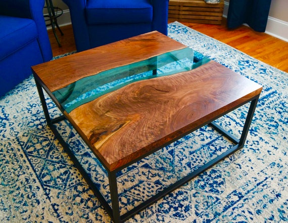 Custom Walnut With Blue Glass River Live Edge Coffee Tables