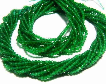 """13"""" Full Strand Green Onyx Rondelle Approx 2.50mm Micro Cut Beads Drilled Gemstone Faceted Rondelles Israel Cut Round"""