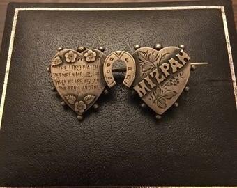 Silver mizpah horseshoe brooch