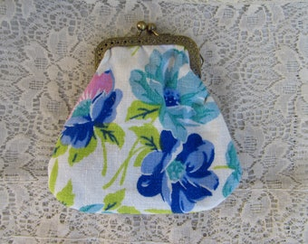 Blue Floral Repurposed and Vintage Linens Change Coin Purse by OldisNew517