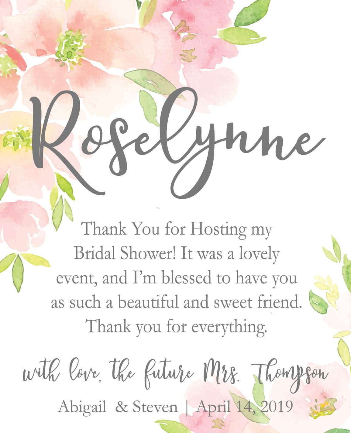 Hostess Bridal Shower Thank You Gift Wine Champagne Bottle Labels