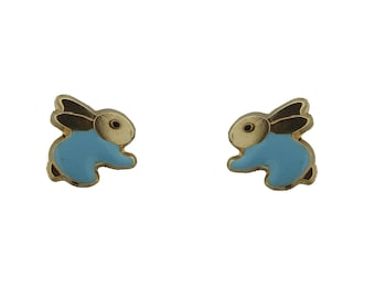 18K YG Rabbit Screwback Earrings