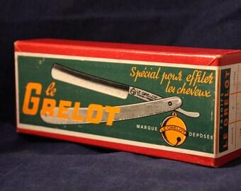 Vintage Cardboard Shipper Advert for LE GRELOT Straight Razors