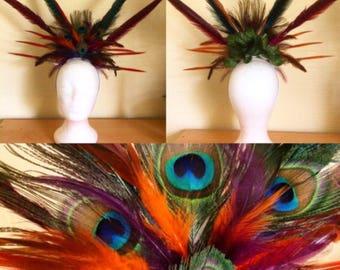 Tribal feather festival carnival head piece