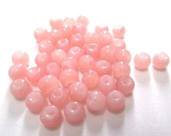 Pink glass imitation jade 4mm (A-30) 20 beads