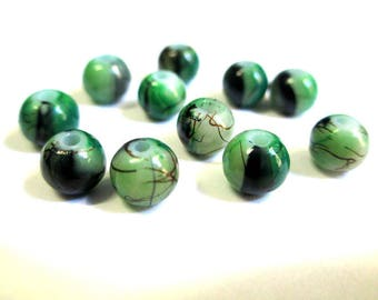 20 green beads, Brown painted glass 6mm (1)