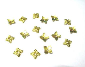 50 bead caps flower 6mm gold color metal
