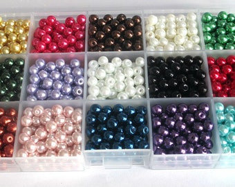 1 box of 1275 glass beads Pearl 6mm to 15 compartments color blend (85 beads of each color)