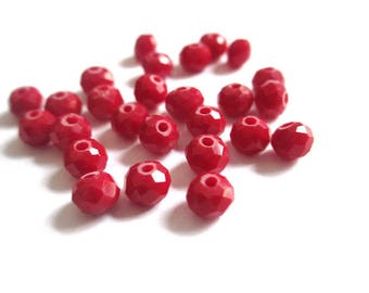 10 Red 6x5mm faceted rondelle Crystal beads