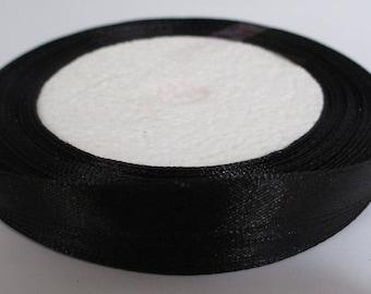 23 m reel color 10mm black satin ribbon