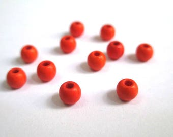 20 orange 4mm synthetic turquoise beads