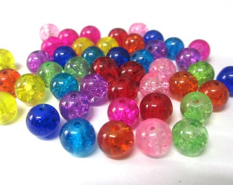 45 Crackle glass beads color mix of 8mm