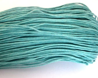 20 meters 0.7 mm emerald blue waxed cotton thread
