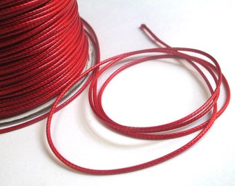 5 m thread cord waxed red polyester 1 mm